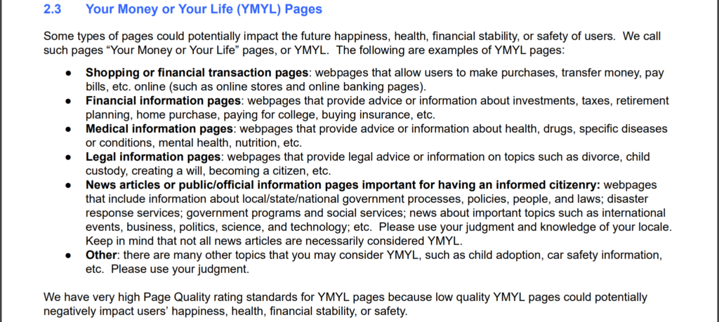 YMYL google general guideline
